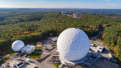 Haystack 37-meter radome and campus from the air