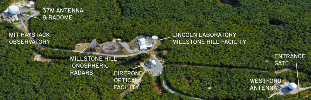 Labeled aerial map of Haystack campus