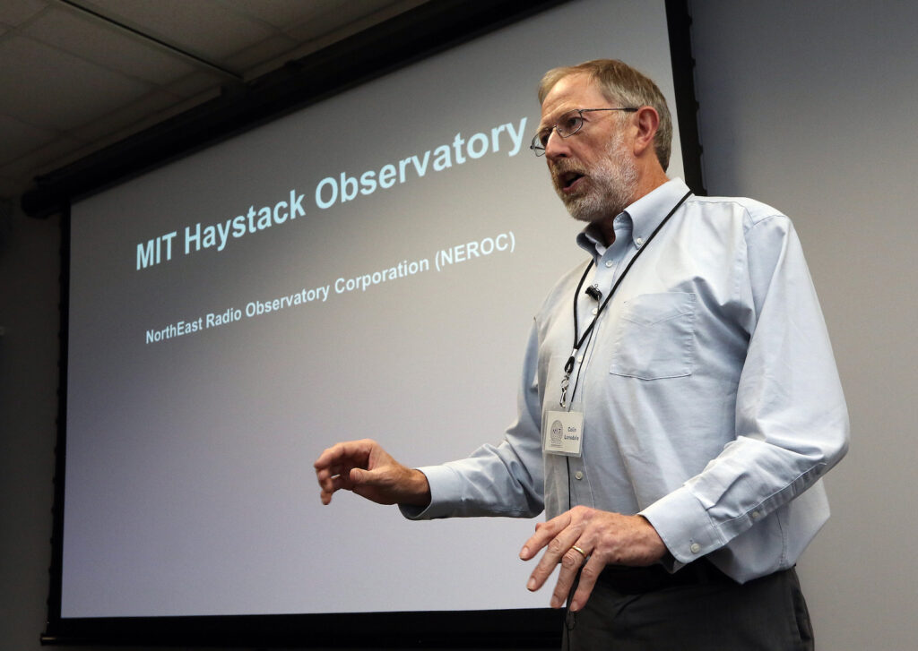 Director Colin Lonsdale speaking at a Haystack Open House