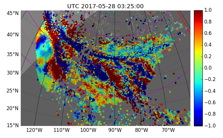 An example of traveling ionospheric disturbances over the United States as measured using new line-of-sight TEC files in Haystack's Madrigal database