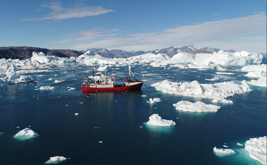 Research vessel amongst icebergs off the coast of Greenland