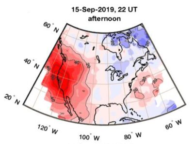 Ionospheric anomalies observed on Sept. 15, 2019 over North America