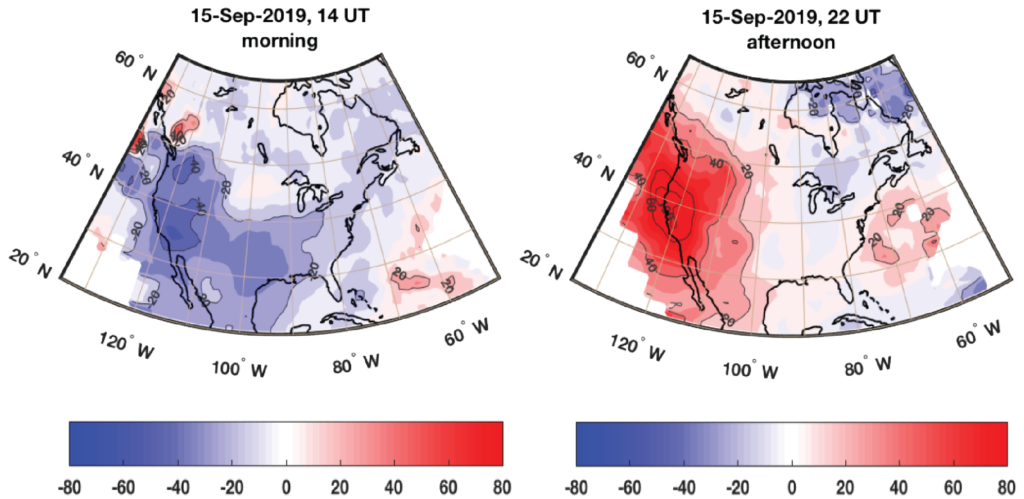 Caption:Ionospheric anomalies observed on Sept. 15, 2019 over North America