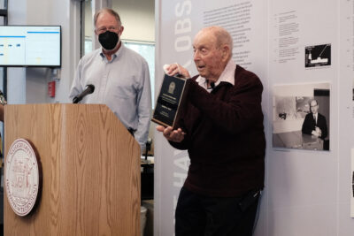 Herb Weiss speaking at the Haystack historical exhibit unveiling, seen here with Director Colin Lonsdale