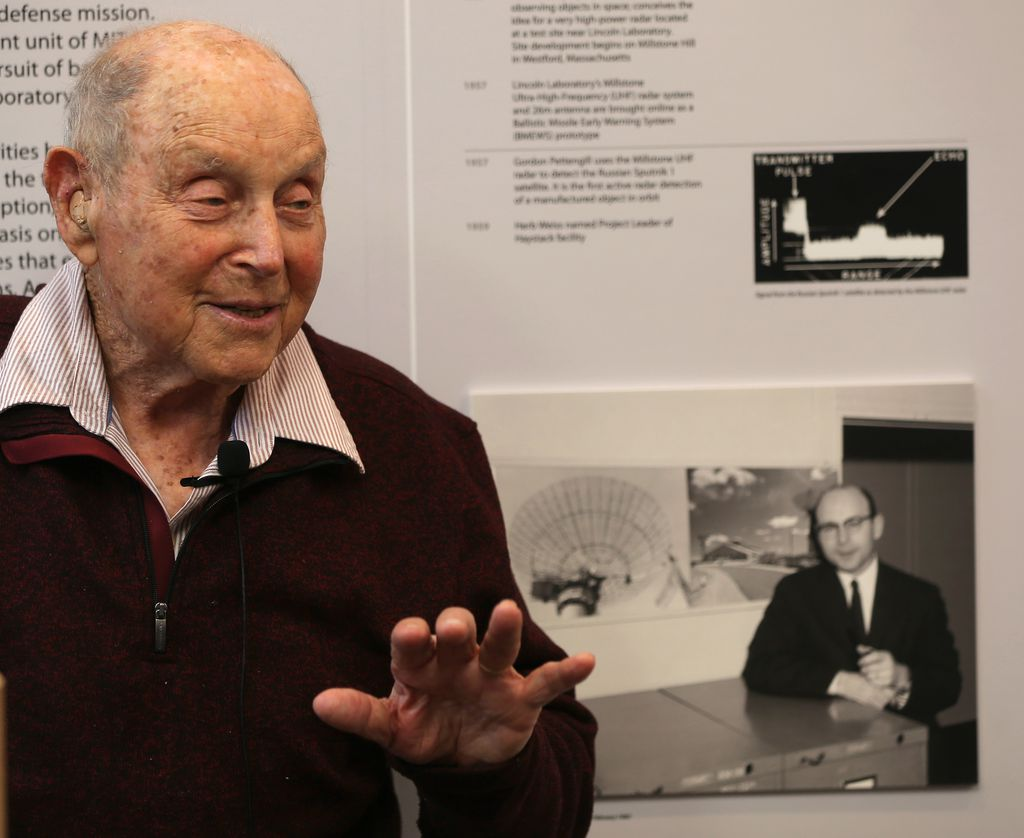 Founder Herb Weiss speaking at the unveiling of the Haystack historical exhibit (credit: Globe/David L. Ryan)
